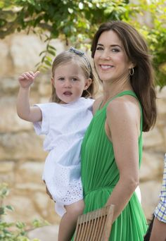 Crown Princess Mary of Denmark and Princess Josephine of Denmark attending a Photocall at Chateau de Cayx on June 11, 2014 in Luzech, France.