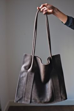 Leather tote bag Flanel / ATELIER SOLARSHOP