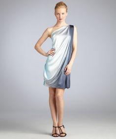 a6d4d706357 blue ombre stretch silk draped front one shoulder dress. wedding time. Blue  Ombre