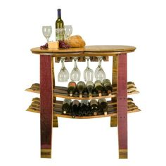 Wine Barrel Table Rack With Glass Holder – Donachelli's Cellars
