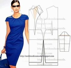 Simple patterns of elegant dresses Sewing Patterns Free, Clothing Patterns, Dress Patterns, Free Pattern, Diy Clothing, Sewing Clothes, Fashion Sewing, Diy Fashion, Costura Fashion