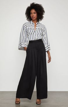 Brandy Pleated-Front Pant Angela Martin, Girl With Sunglasses, Light Dress, Cocktail Gowns, Wide Leg Trousers, Work Casual, Girls Shopping, Soft Fabrics, Black Pants