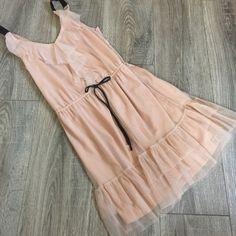 Adorable Chiffon Ruffle Tank Dress Drawstring S Adorable Chiffon Ruffle Tank Dress Drawstring Waist.Size Small. Love the nude/blush color with black straps! Made by Xhilaration. Excellent condition. AA Xhilaration Dresses Mini
