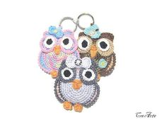 Keychains owls crochet, Handmade keychains, Crochet Keychains, Portachiavi Gufetti (Cod. 33)