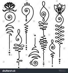 Collection of unalome, Buddhism sacred geometry design. Vector spiritual tattoos.