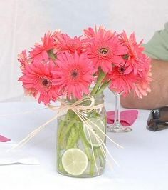 second view of gerber daisy mason jar