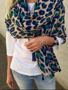 Pink Deer Navy/Green Leopard scarf