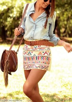 Great way to pair a girly skirt with a more demure denim top - such a boho look! Great for summer!