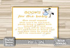 Stork Bring a Book Instead of a Card - Baby Shower Insert Card Printable - Insert Card Stork Orange Boy or Girl - INSTANT DOWNLOAD - so1 by DigitalitemsShop on Etsy