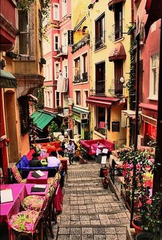 "French Street, Beyoğlu Istanbul. ""Rue Francaise"", with tented buildings, street musicians, cafés, bars and art centers."