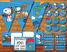 This Snoopy Flying Ace Printable Party Kit easily allows you to create a Snoopy and Peanuts themed party for any occasion--birthday parties, baby showers, gender reveal parties and others! Easily personalize the cards by yourself through the EDITABLE fields! It includes over a dozen