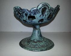 HEAVY PEDESTAL DISH MADE TO LOOK COVERED IN PATINA