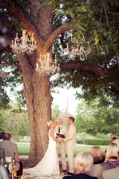 Chandeliers will hang from the pecan tree at the ceremony site.  www.stemproduction.com   I  www.ajhweddings.com