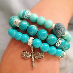 Turquoise stretchy bracelets set by tristezadelviento on Etsy