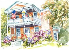 On my second day at the Historic Home and Garden Tour in Beaufort, NC, I was asked to paint the Ann Street Inn. The guests were all having a wonderful time and invited me to join in their celebrations.