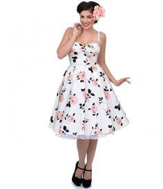 Stop Staring! 1950s Style White & Pink Rose Poppy Swing Dress