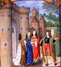 A Lover Addressing Three Ladies. Poems of Charles of Orléans and other works. Flanders, Bruges, c. 1490-1500. French, Royal MS 16 F. ii, f.188.    Image from the book The Illuminated Page. Ten Centuries of Manuscript Painting by Janet Backhouse (1998). Image #189, Page #214-215. University of Toronto Press. ISBN 0802043461. (www.kimiko1.com)