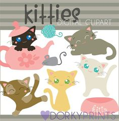 Kitty Digital Clip Art Set Personal and Commercial by DorkyPrints, $3.50