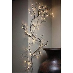 Home Kitchen Decor Accents Lighted Willow Vine 12 Cord Transformer Plug Outlet Twig Lights, Lighted Branches, White Led Lights, Wall Lights, Birch Branches, Led Garland, Hanging Garland, Hanging Candles, Branch Decor