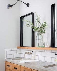 This bathroom with its soap shelf and resting mirrors is really doing things for me. Plus a peak at what potentially is the prettiest stain-grade vanity, maybe ever? Anyone with me? Designed by the lovely @joannagaines