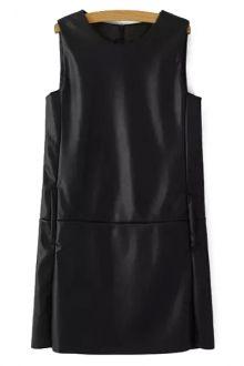 Sleeveless Black Faux Leather Dress