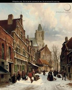 Numerous figures in a Dutch street in winter - Adrianus Eversen Winter Painting, Winter Art, Perspective Art, Medieval Life, Dutch Painters, Amsterdam Netherlands, Great Pictures, Delft, Art World