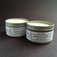 Mr. Darcy & Elizabeth Bennet SET OF TWO Candles by BookishCandles