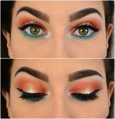 i love this look!!!! orange and blue makeup!!!