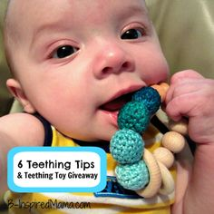 How did you help your little ones through teething? Here are 6 tips to soothe a teething baby and a handmade wooden teething toy giveaway! at B-InspiredMama.com