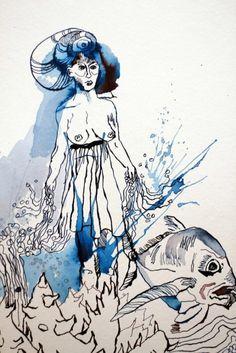 Detail - Die besänftigte Sedna - 30 x 40 cm - Tusche auf Aquarellkarton…