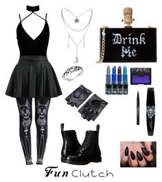"""""""Down the Magick Hole"""" by barbaradambrosio on Polyvore featuring Trish McEvoy, Boohoo, WithChic, Dr. Martens and NARS Cosmetics"""