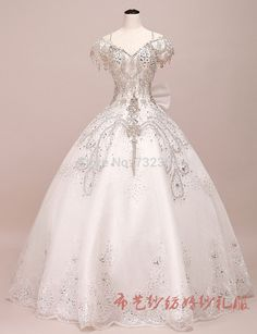 full rhinestone beading princess medieval ball gown wedding dress vintage…