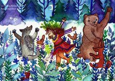 Forest Dance Original Fantasy Art Watercolor Painting Mythology Folklore Illustration Forest Animal Art Fantasy Painting by Niina Niskanen