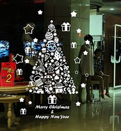 Yanqiao New Christmas Tree Pattern Wall Decals PVC Stickers For Living Room Nursery Kids Bedroom Christmas Gifts 236394White >>> Check out the image by visiting the link. (Note:Amazon affiliate link)