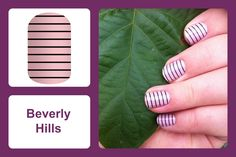 Thin black stripes on chic, pale pink lends itself to the flirty, high fashion feel of 'Beverly Hills.' #bevsjamminnails https://bkimball.jamberry.com/us/en/shop/products/beverly-hills#.Vxe4tPkrJQI