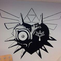 Majora's Mask with the Eye of the Sheikah Geeks, Legend Of Zelda Tattoos, Majora Mask, Nerdy Tattoos, Native Tattoos, Mask Tattoo, Gaming Tattoo, Video Game Art, Future Tattoos