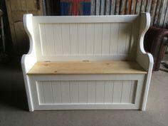 solid 4 ft pine handmade monks pew settle storage bench window hallway seat