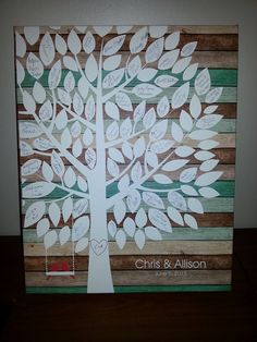 Tealwood Wedding Tree Canvas | Guest Book Alternative | Signature Tree | Rustic Wedding | Customer Photo | Wedding Color - Teal & Red | peachwik.com