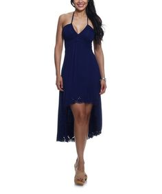 Another great find on #zulily! Navy Eyelet Pleated Halter Dress by Classique #zulilyfinds