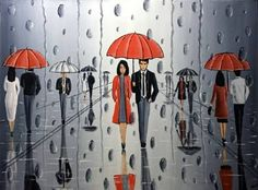 "Saatchi Art Artist Aisha Haider; Painting, ""The Umbrellas In The Rain 3"" #art"