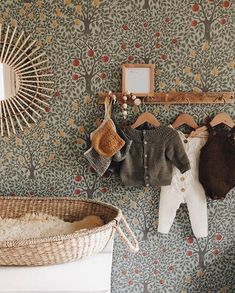 Baby Bedroom, Nursery Room, Girl Nursery, Girl Room, Girls Bedroom, Scandinavian Kids Rooms, Scandinavian Wallpaper, Baby Barn, Cool Kids Rooms