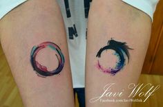 Circle and unfinished circle forearm tattoo by Javi Wolf with colored watercolor details Zen Tattoo, Karma Tattoo, Tattoo Moon, Time Tattoos, Body Art Tattoos, Small Tattoos, Tatoos, Javi Wolf, Hirsch Tattoo