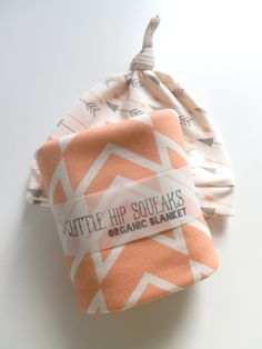 Baby Girl Blanket and Hat Gift Set, Peach Braided Ikat and Arrows Prints, Organic Baby Shower Gift. via Etsy.