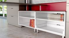 Great Openings Cayenne low storage, open shelf cabinets ganged with a common laminate top
