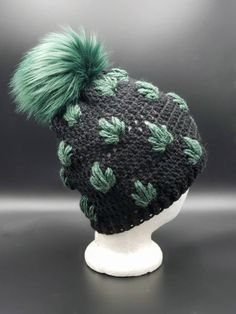 Green Leaves Black Beanie with Faux Fur Pom by OhanaBoutiqueCrochet on Etsy