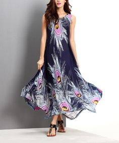 Look what I found on #zulily! Navy Peacock Handkerchief Maxi Dress by Reborn Collection #zulilyfinds