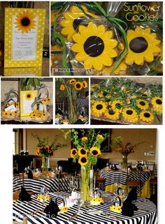 Wedding guest table centerpieces vase Ideas for 2019 Sunflower Birthday Parties, Sunflower Party, Sunflower Baby Showers, Sunflower Cookies, Wedding Guest Table, Brunch Invitations, Flower Crafts, Grad Parties, Baby Shower Themes