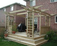 The wooden pergola is a good solution to add beauty to your garden. If you are not ready to spend thousands of dollars for building a cozy pergola then you may devise new strategies of trying out something different so that you can re Diy Pergola, Pergola Canopy, Deck With Pergola, Cheap Pergola, Wooden Pergola, Diy Deck, Outdoor Pergola, Pergola Shade, Pergola Kits