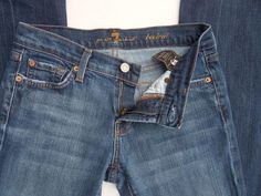7 FOR ALL MANKIND Low Rise Bootcut Jeans Size 26 Whiskered Dark Wask #7ForAllMankind #BootCut