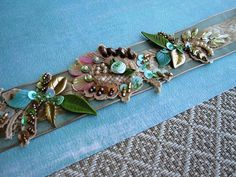 Cream/aqua ribbon embellishment | Flickr - Photo Sharing!